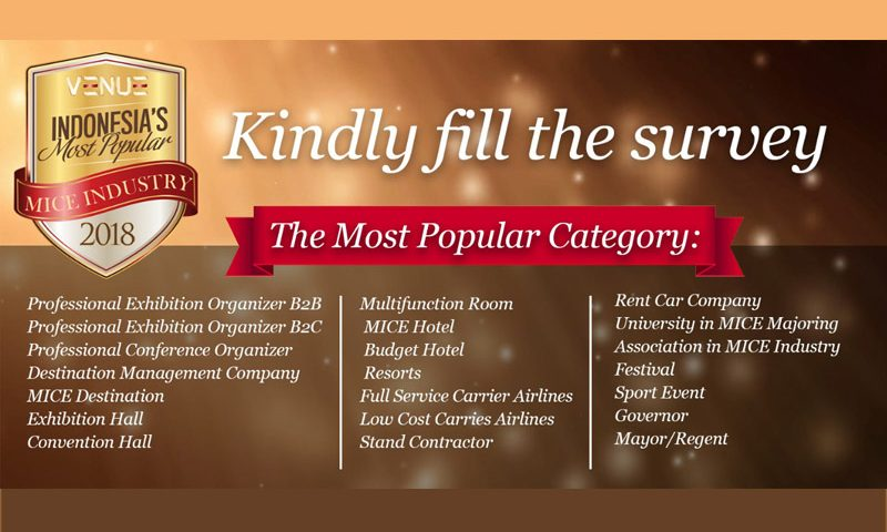 Majalah VENUE Berikan Penghargaan Indonesia's Most Popular MICE Industry 2018